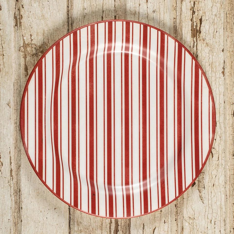 Red Ticking Stripe Plate-Seasonal-A Cottage in the City