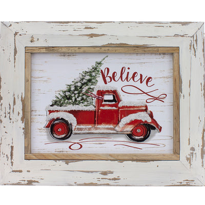 White Wood Framed Red Truck Believe Sign
