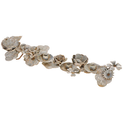 Aged Metal Floral Taper Holder