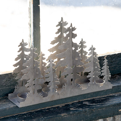 Winter Forest Metal Silhouette Tea Light Holder