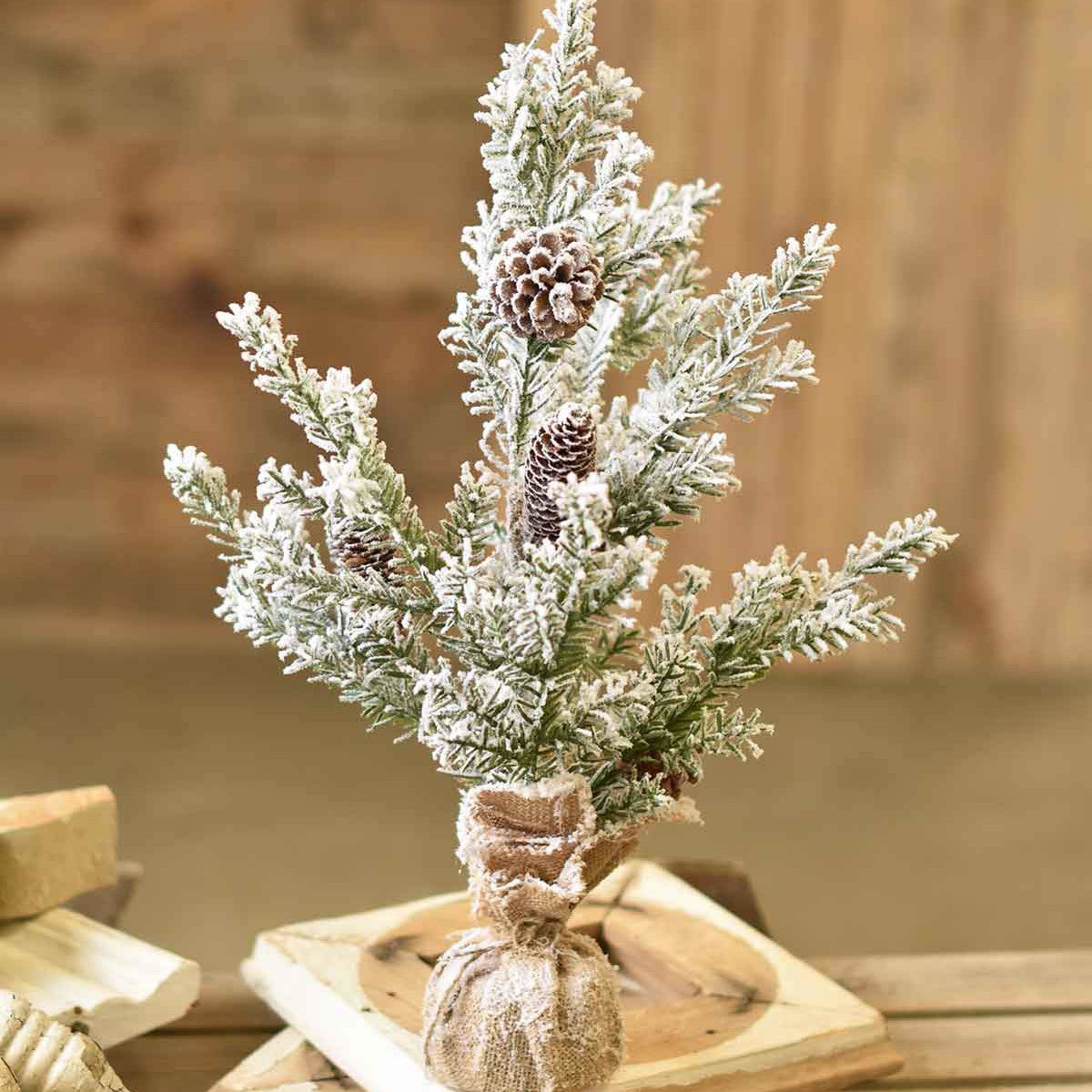 Flocked Pine Tree With Burlap Wrapped Base-Seasonal-A Cottage in the City