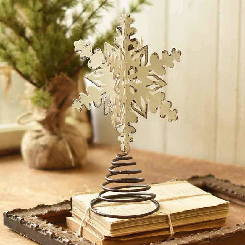 Distressed White Snowflake Tree Topper-Seasonal-Vintage Floral Imports-A Cottage in the City