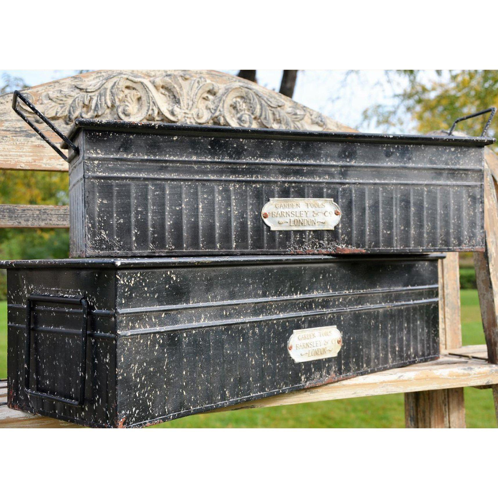 Aged Black Metal Tub Container-Seasonal-Small-A Cottage in the City