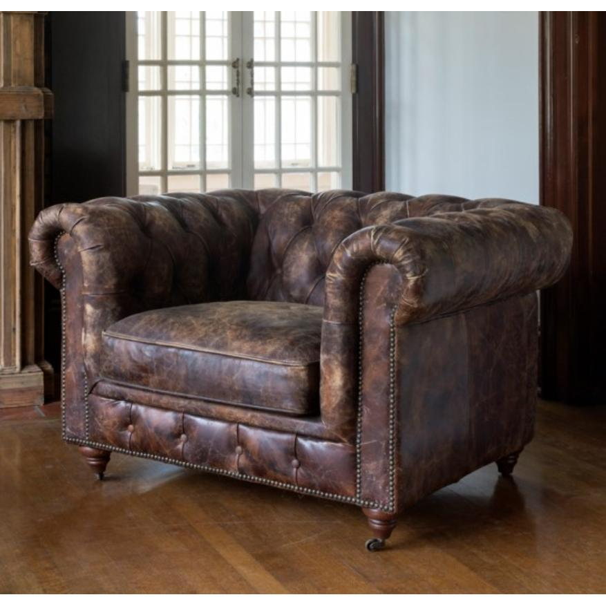 Aged Leather Cattlemans Club Chair