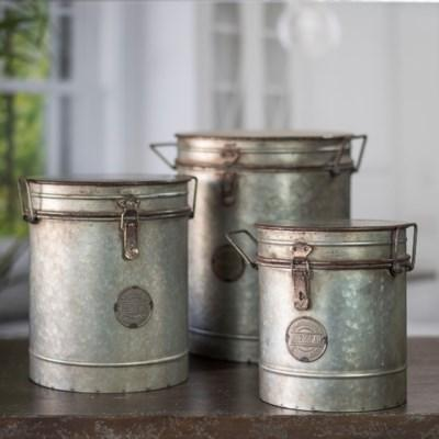 Aged Metal Canisters