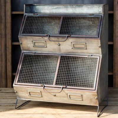 Aged Metal Vegetable Bin