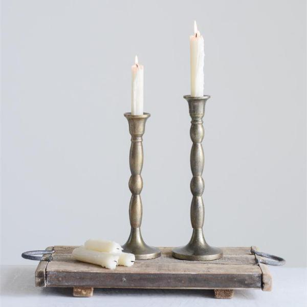 Antiqued Brass Taper Candle Holder-Decor-Small-A Cottage in the City