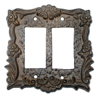 Antiqued Bronze Double Rocker Switch Plate