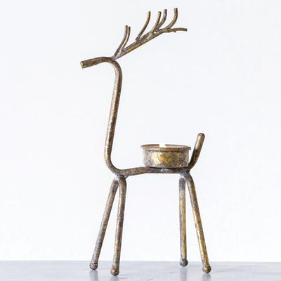 Antiqued Gold Metal Deer Tealight Holder