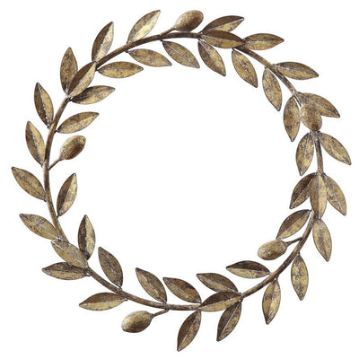 Antiqued Gold Metal Leaf Wreath