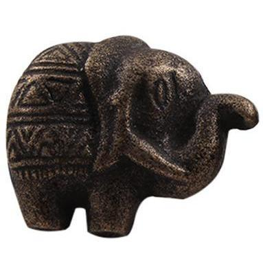Antiqued Iron Elephant Knob