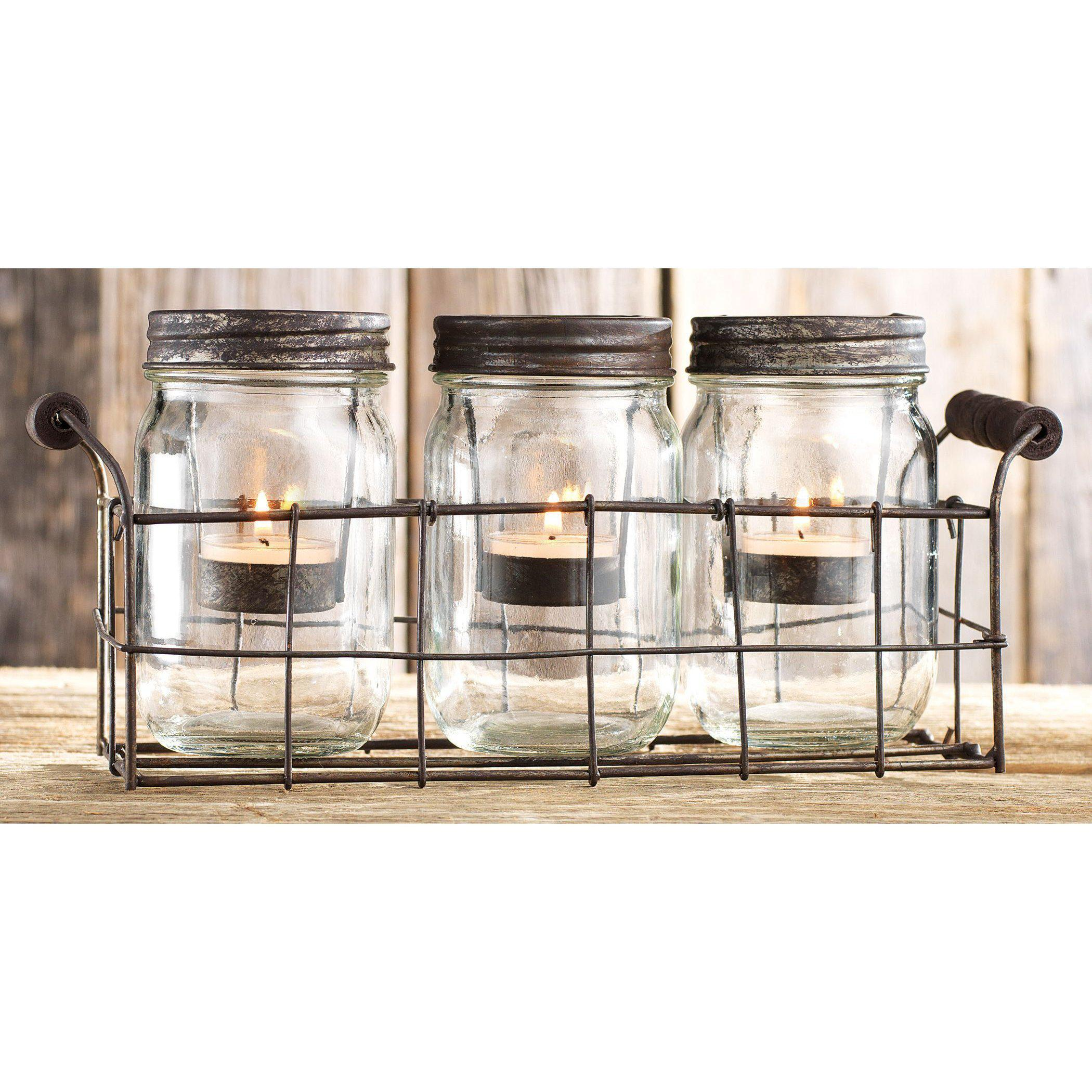 Antiqued Mason Jar Three Tealight Holder-Decor-A Cottage in the City