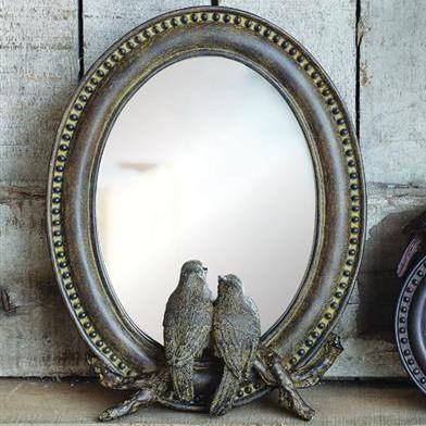 Antiqued Resin Bird Mirror