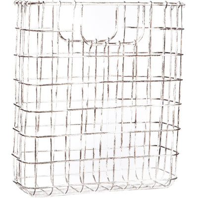 Antiqued White Magazine Wire Basket