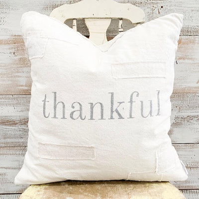 Thankful Patched Pillow Cover