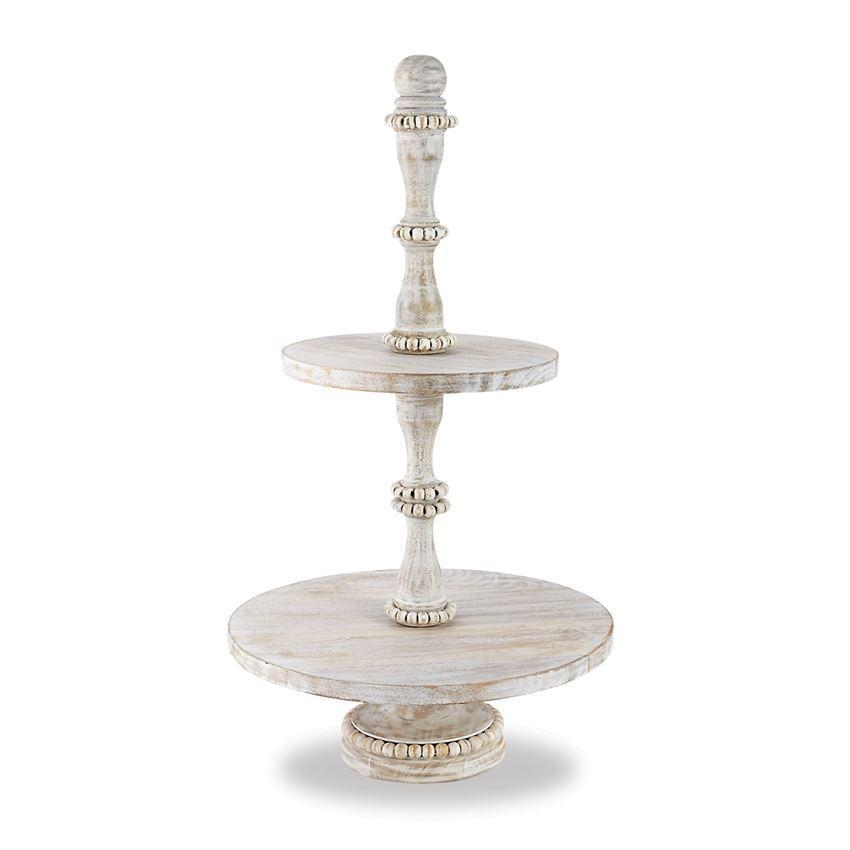 Beaded Wood Tiered Server-Tabletop-A Cottage in the City