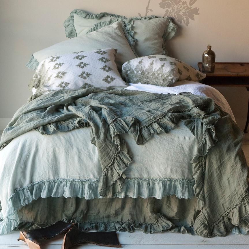 Bella Notte Linens Linen Whisper Dust Ruffle-Bed & Bath-Full/Queen-Parchment-A Cottage in the City