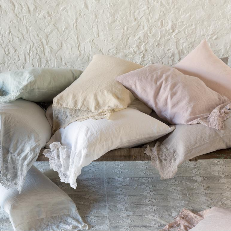 Bella Notte Linens Olivia Lace Linen Pillowcase-Bed & Bath-Standard-Pearl-A Cottage in the City