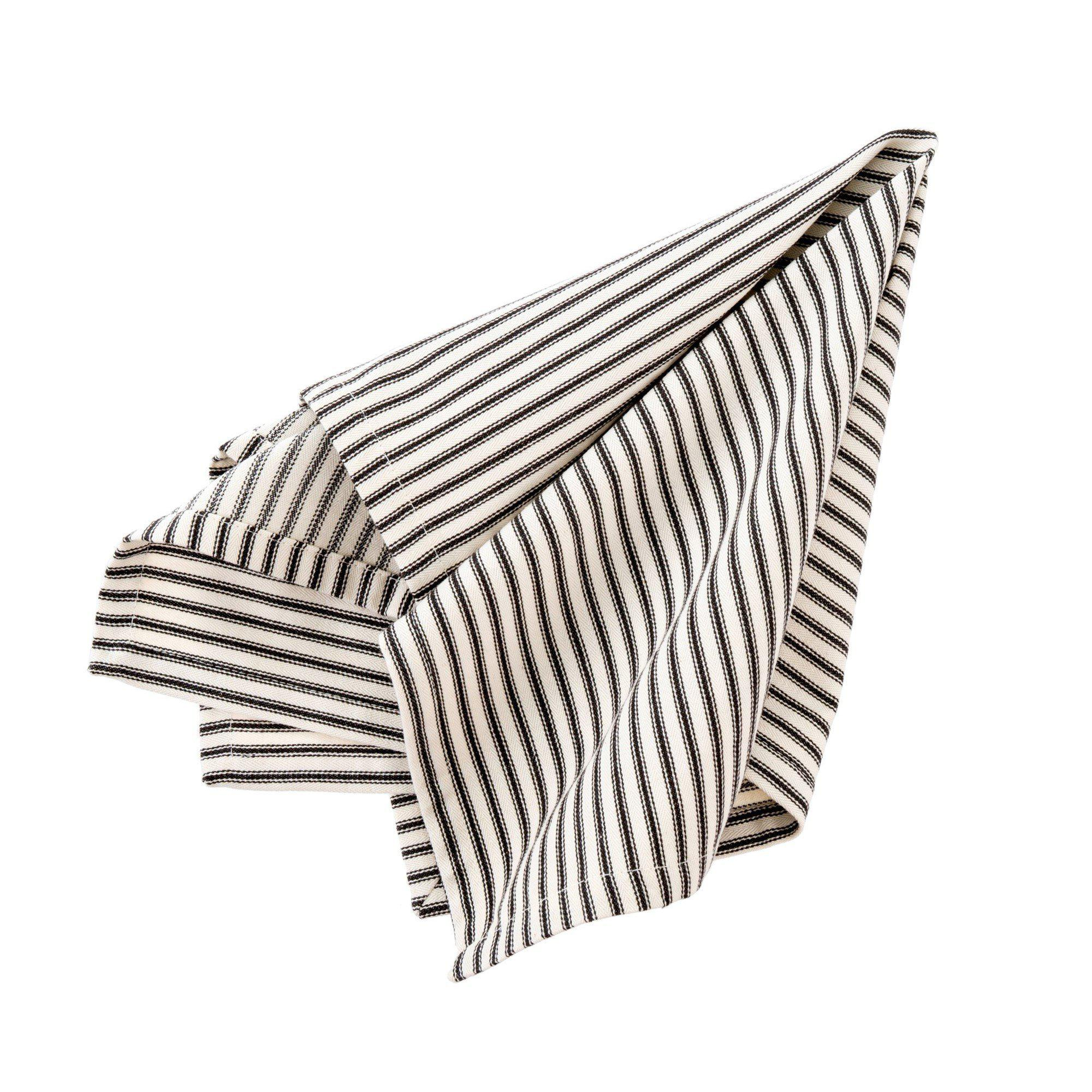 Black Ticking Stripe Napkins S/4-Tabletop-A Cottage in the City