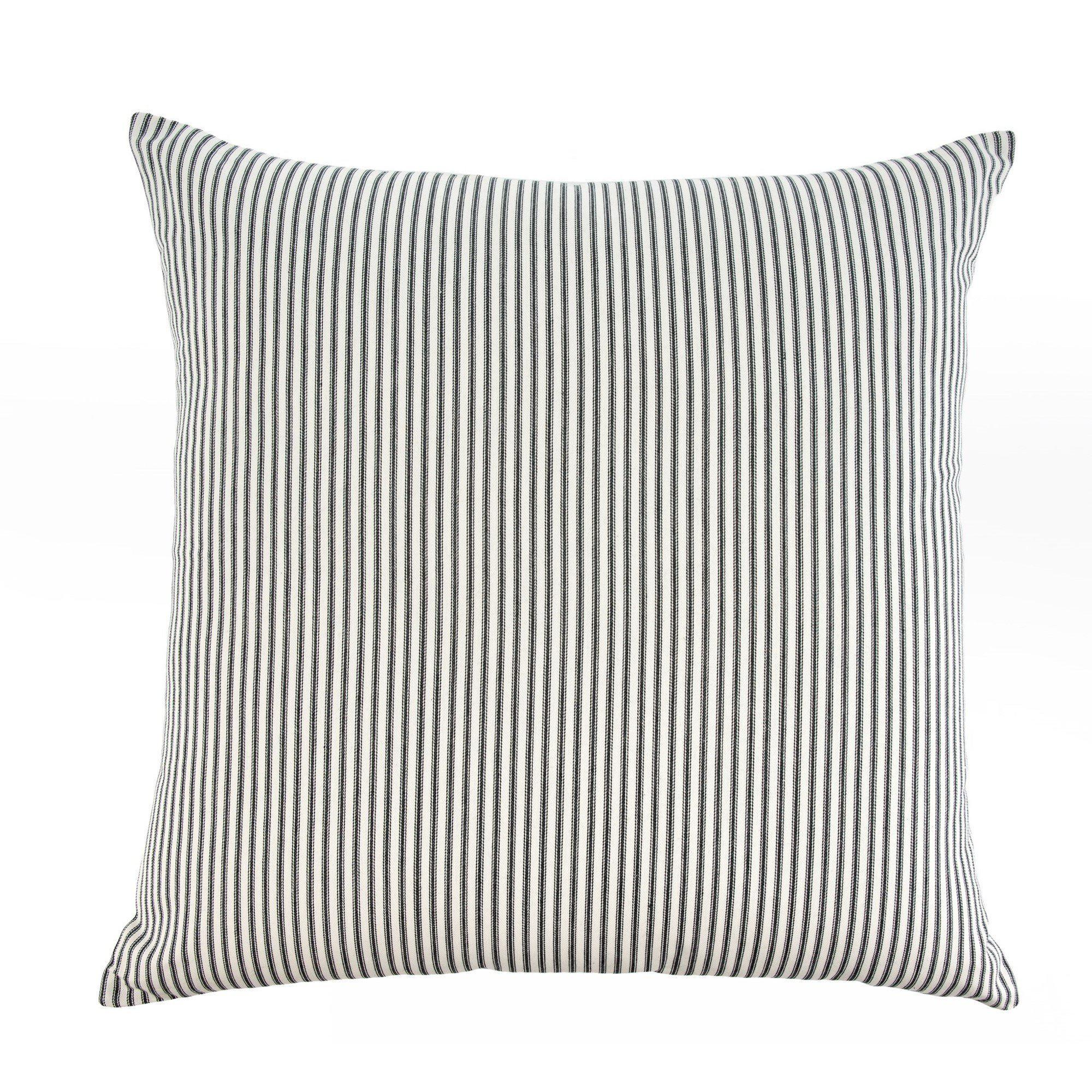 Black Ticking Stripe Pillow-Decor-A Cottage in the City