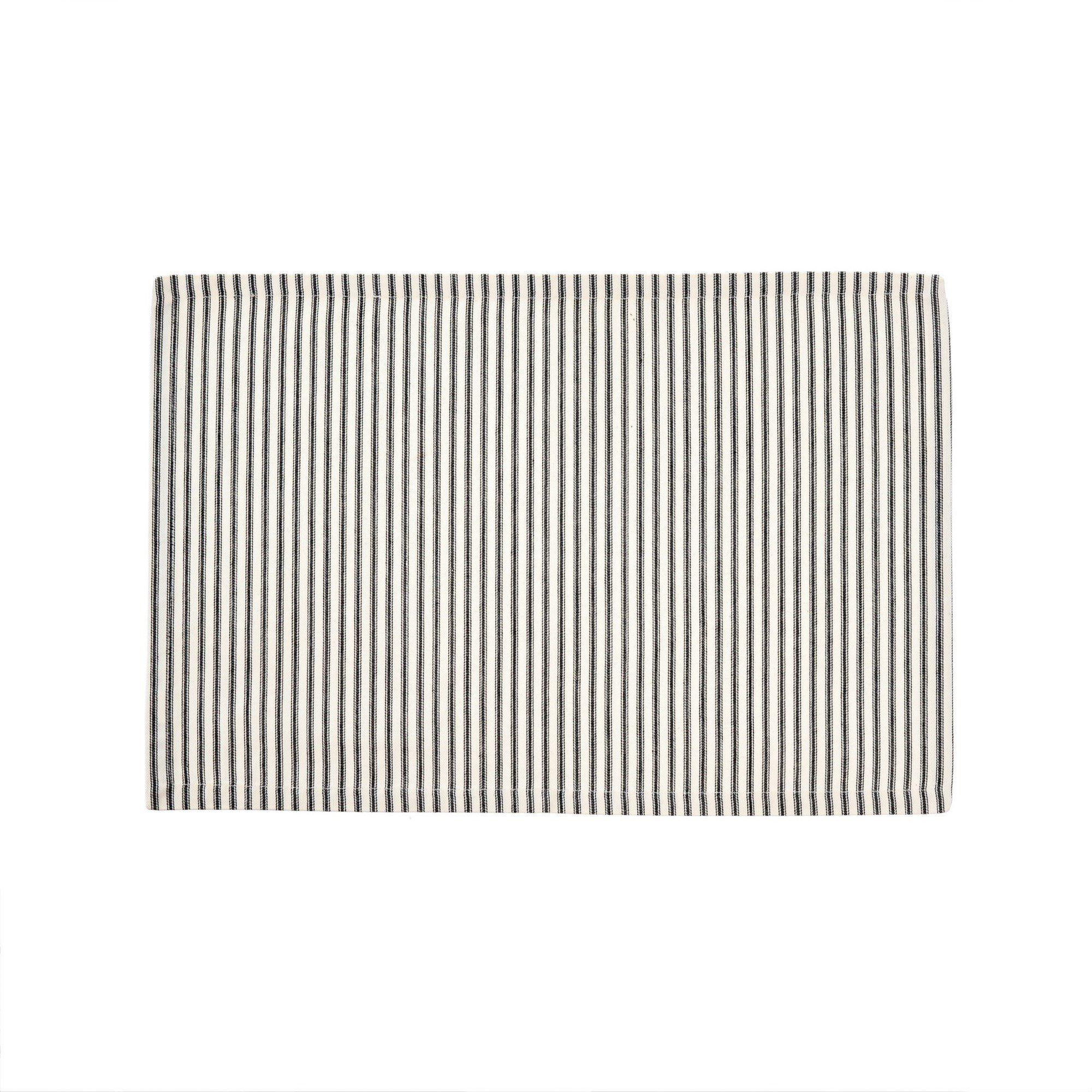 Black Ticking Stripe Placemats S/4-Tabletop-A Cottage in the City