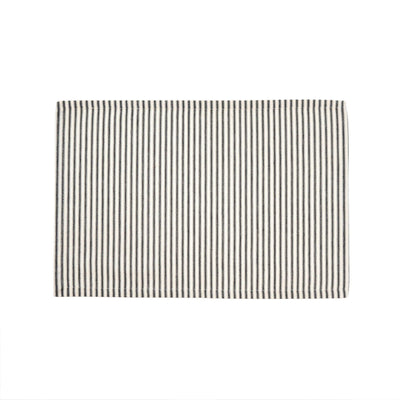 Black Ticking Stripe Placemats S/4