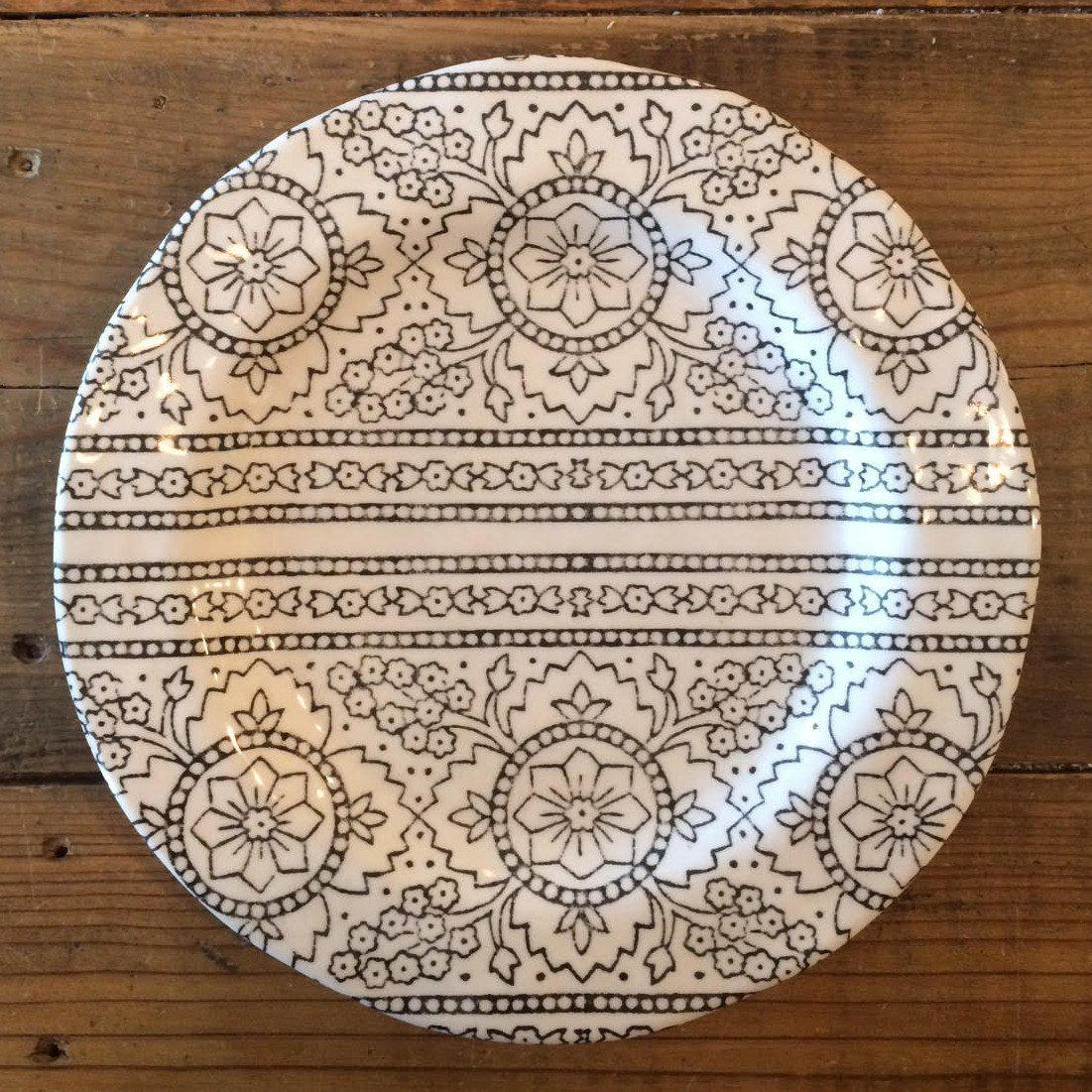 Black & White Henna Melamine Salad Plate-Tabletop-A Cottage in the City