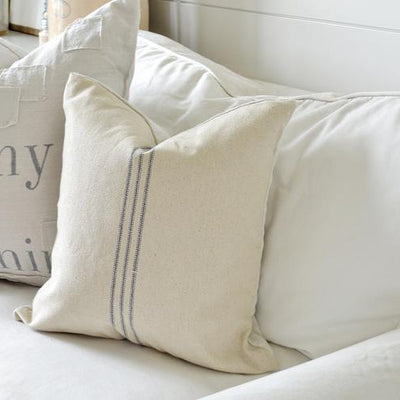 Grain Sack Blue Stripe Pillow