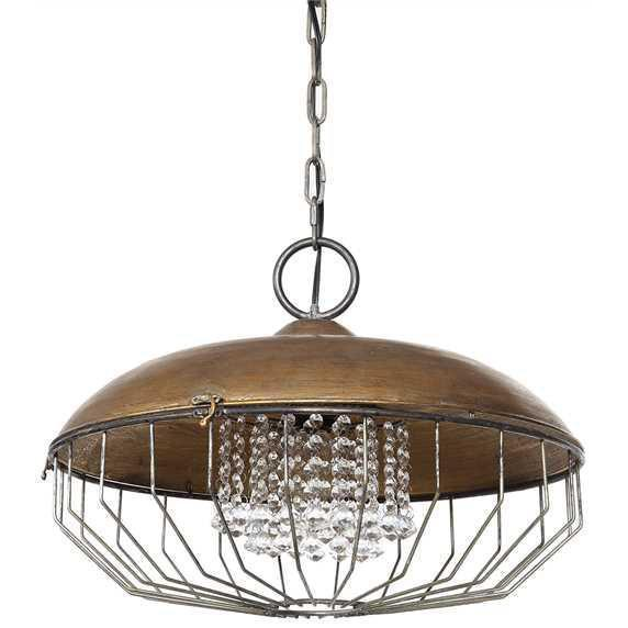 Bronze Metal Chandelier With Glass Crystals-Furniture-A Cottage in the City