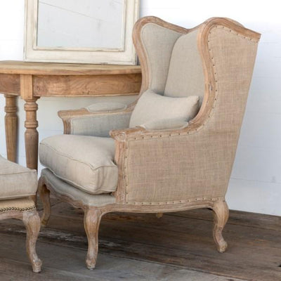 Burlap & Linen Wing Back Chair