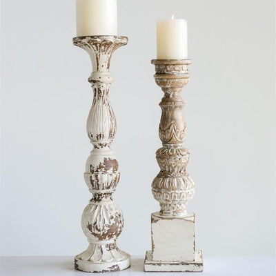 Carved White Wood Candle Holder