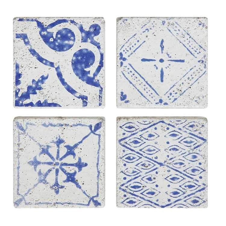 Cement Blue Tile Coasters S/4-Seasonal-A Cottage in the City