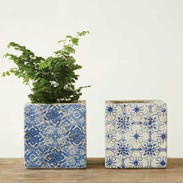 Cement Blue Tile Planter