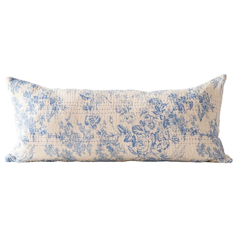 Chambray Blue Toile Stitched Lumbar Pillow-Decor-Creative-A Cottage in the City