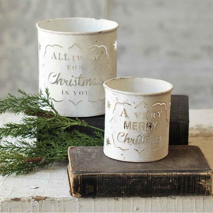 Christmas Galvanized White Candle Holder-Seasonal-Small-A Cottage in the City