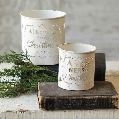 Christmas Galvanized White Candle Holder