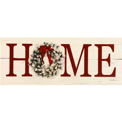 Christmas Wreath Home Block Sign