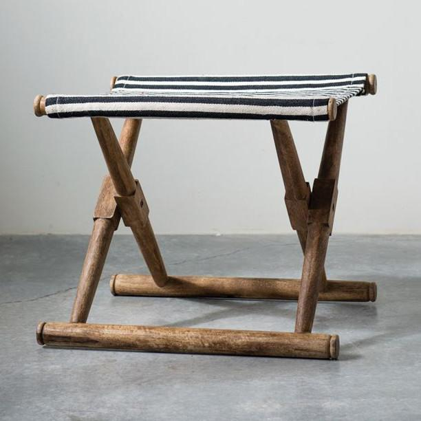 Cotton Striped Folding Stool