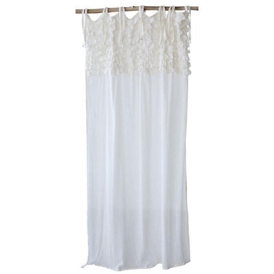 Cotton Voile Ruffle Curtain Panel