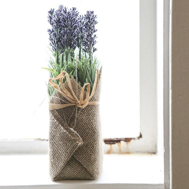 Artificial Potted Lavender In Burlap-Decor-A Cottage in the City