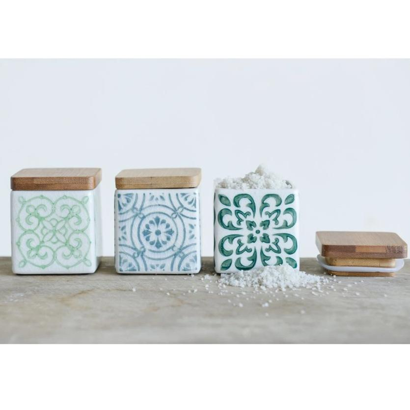 Stamped Stoneware Canister With Bamboo Wood Lid-Storage-A Cottage in the City