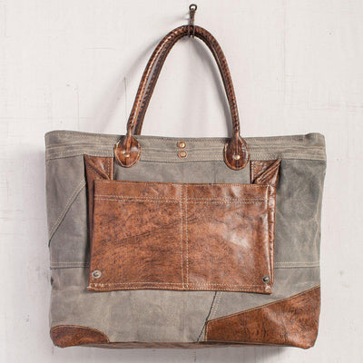 Dakota Canvas Leather Tote