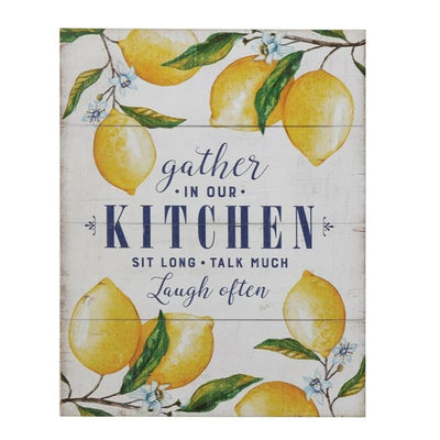 Gather In Our Kitchen Lemons Wood Sign
