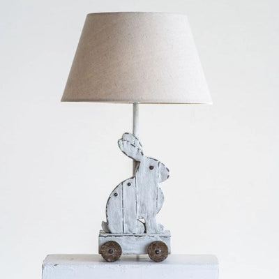 Resin Rabbit Lamp With Linen Shade