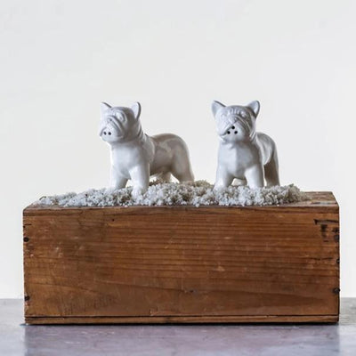 Ceramic Bulldog Salt & Pepper Shakers