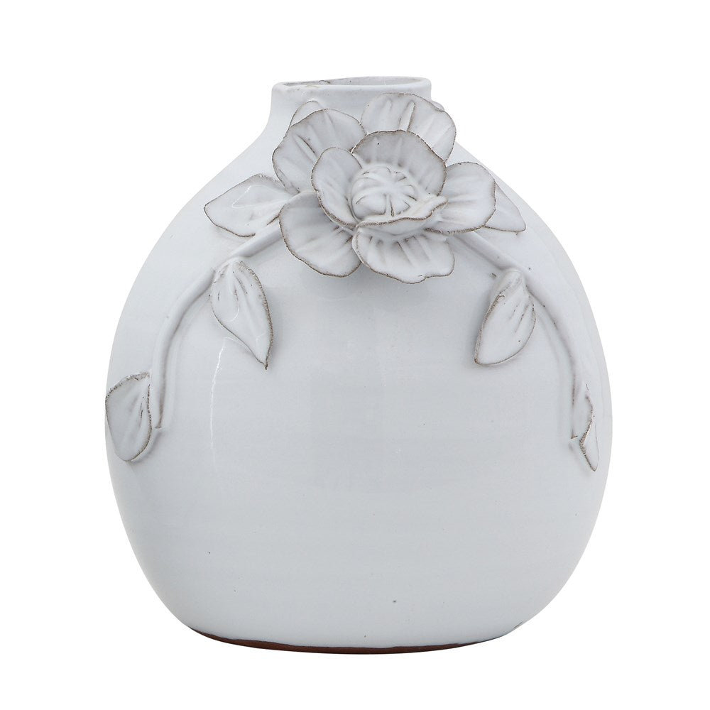Terra Cotta Floral White Vase-Decor-A Cottage in the City