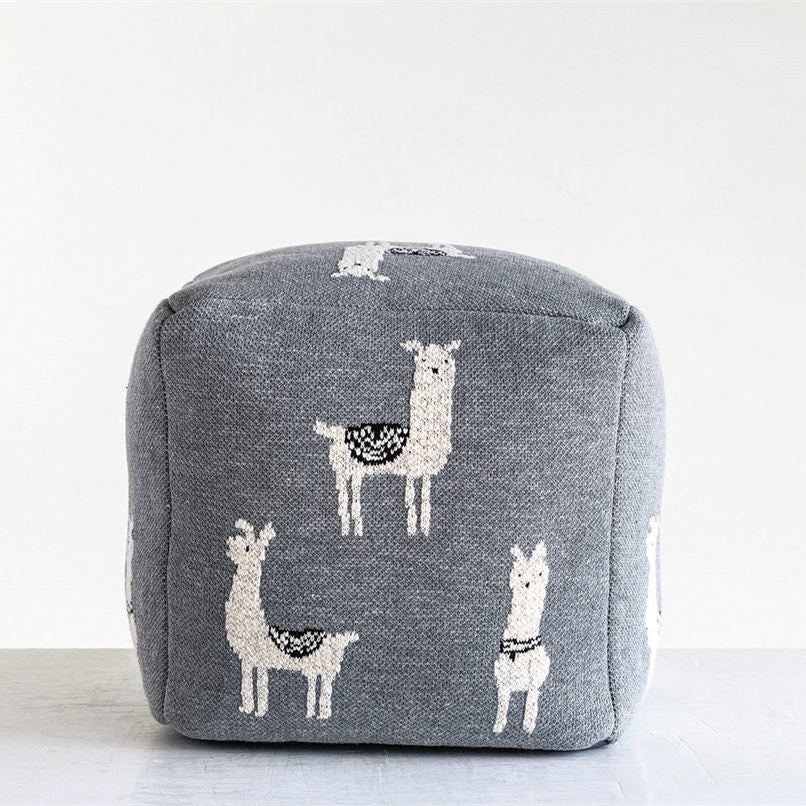 Grey Knit Llama Pouf-Decor-A Cottage in the City