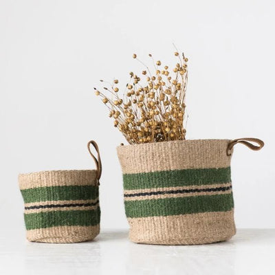 Jute Green Striped Basket With Leather Handle