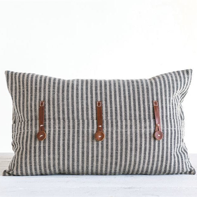 Ticking Stripe Pillow With Leather Accents-Decor-A Cottage in the City
