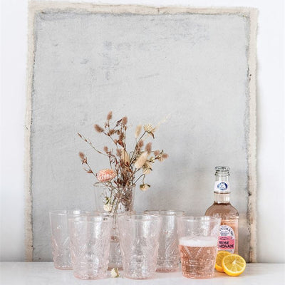 Embossed Blush Glass